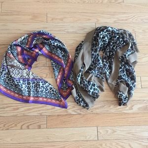 Two Nicole Miller Cheetah Scarves